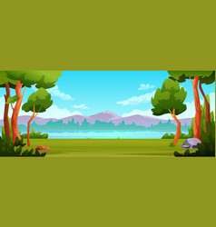 outdoors scenery background trees river landscape vector image