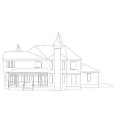 outline of the building of black lines on a white vector image