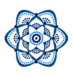 Painted blue flower dots mandala vector