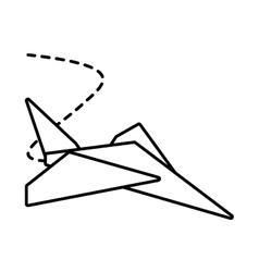 Paper plane toy entertain outline vector
