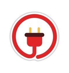 Paper sticker on white background power socket vector