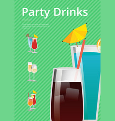 Party drinks promo poster with cocktail menu list vector