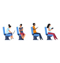 Passengers in airplane bus or train seats people vector