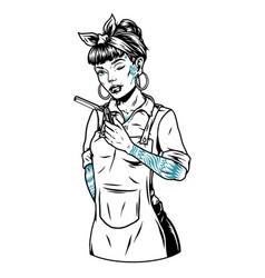 Pretty winking barber woman with tattoos vector