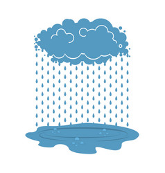 Rain cloud and puddle isolated weather vector