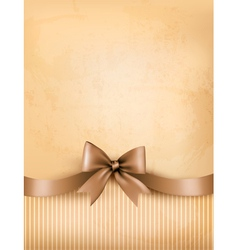 Retro background with old paper and gift bow vector