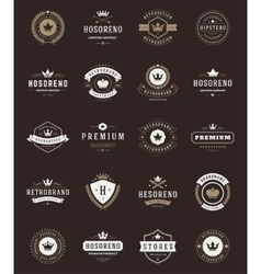 Retro Vintage Premium Quality Labels and Crowns vector image