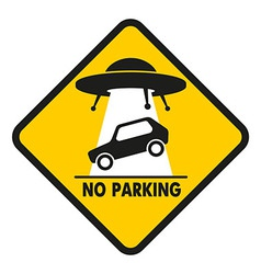 Road Sign UFO Abduction car vector image