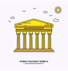 Roman pantheon teemple monument poster template vector