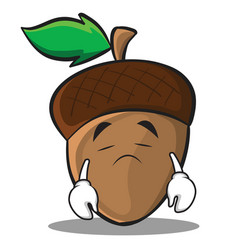 Sad acorn cartoon character style vector