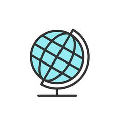 school globe earth model flat color line vector image