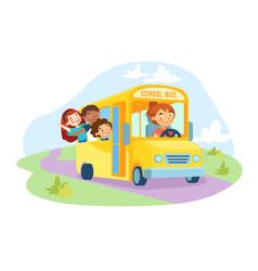 Schoolkids sitting in yellow school bus vector