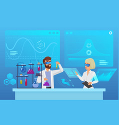 scientific futuristic laboratory research flat vector image