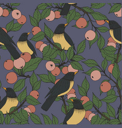 seamless pattern with birds and apple tree vector image