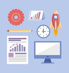 set business teamwork strategy information vector image