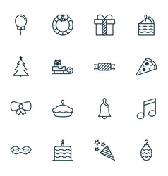 Set of 16 celebration icons includes firecracker vector
