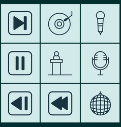 set of 9 audio icons includes dance club vector image