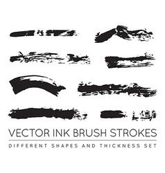 Set of Black Pen Ink Brush Strokes Grunge Ink vector