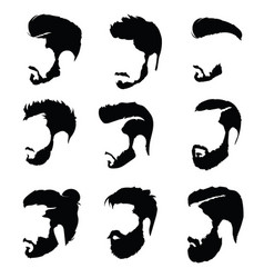 set of hairstyles for men collection of black vector image