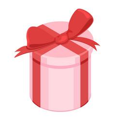Single flat - gift box with ribbon and bow vector