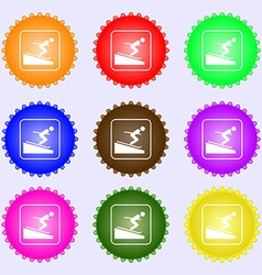 Skier icon sign Big set of colorful diverse vector image