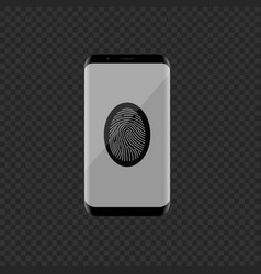 smartphone with fingerprint scan vector image