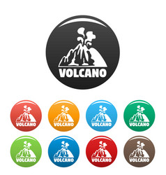 smoke volcano icons set color vector image