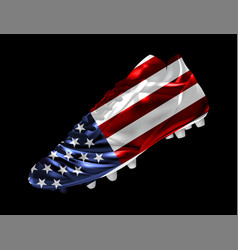 soccer football boot with the flag of the usa vector image