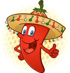 sombrero pepper thumbs up cartoon vector image