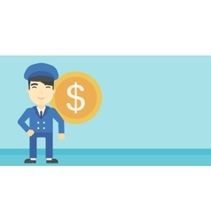Successful businessman with dollar coin vector image
