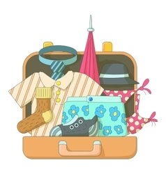 Suitcase with clothes icons set flat style vector