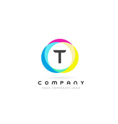 t letter logo design with rainbow rounded colors vector image