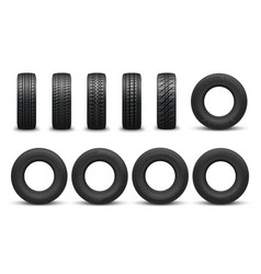 Types tire with different tread patterns vector