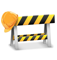 Under Construction Barrier with Helmet vector