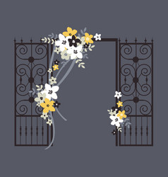 Wedding flower arch with ribbons on gray vector