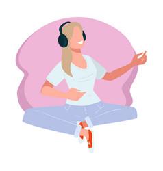 Woman wearing headphones listening to positive vector