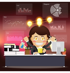 woman with many arms working with idea bulb vector image