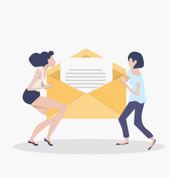 women holding newsletter in opening envelope vector image