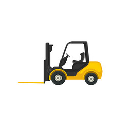 Yellow forklift truck with fork in front vector