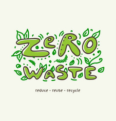 zero waste banner with doodle lettering and leaves vector image