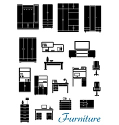 Black wooden furniture flat icons vector image vector image