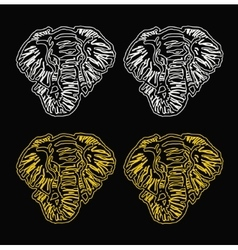 pattern elephant head outline black background vector image vector image