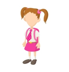 School girl in uniform icon cartoon style vector image vector image
