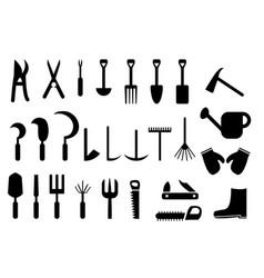 set of garden hand tools icon vector image
