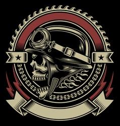 Vintage Biker Skull Emblem vector image vector image