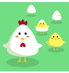 Chicken Chick and Egg in Green Background vector image vector image
