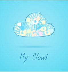 Cloud made from color hands on blue background vector