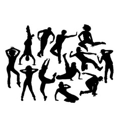 cool hip hop expression silhouettes vector image vector image