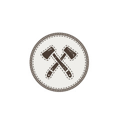 crossed axes icon monochrome camping design vector image