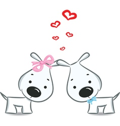 dogs with hearts vector image vector image